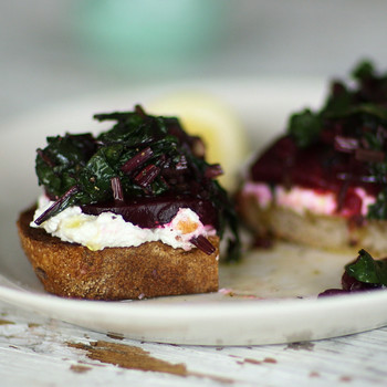 Beets with Greens and Ricotta on Toast Video