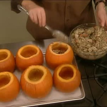 Filling Pumpkins for Pot Pie and Setting Pastry
