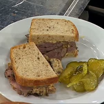Homemade Beef Pastrami on Rye Bread with Mustard.