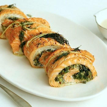 Rolled Stuffed Salmon with Leeks and Swiss Chard