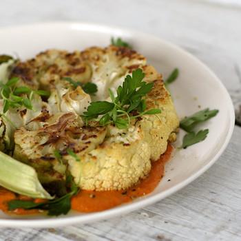 Cauliflower Steaks with Romesco Sauce Video