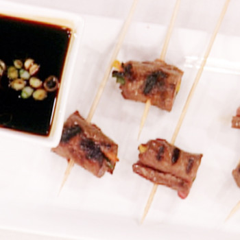 Grilled Beef Skewers and a Scallion Dipping Sauce