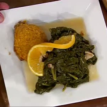 Southern Braised Greens and Blueberry Custard Pie