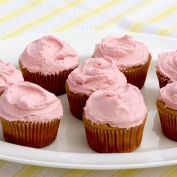 Lemon Yogurt Cupcakes with Fresh Raspberry Frosting