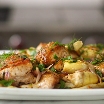 Chicken with Fennel and Artichoke Fricassee