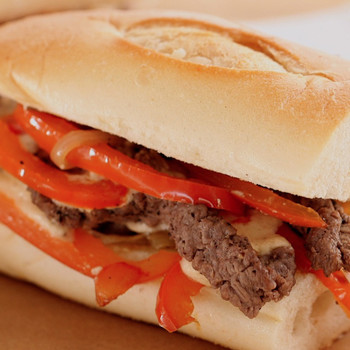 Cheese Steak with Softened Peppers and Onions Sandwich