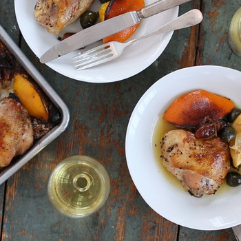Roasted Chicken with Citrus, Dates, and Olives