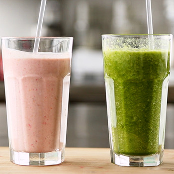 Hearty Fruit and Oat Smoothie and Spinach-Peach Smoothie