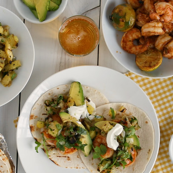 Shrimp and Grilled Pineapple Fajitas
