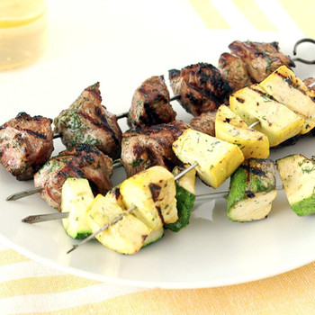 Lamb and Summer Squash Skewers with a Buttermilk Dill Marinade