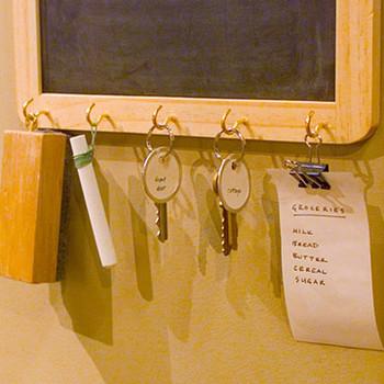 Ribbon Chalkboard with Key Hooks