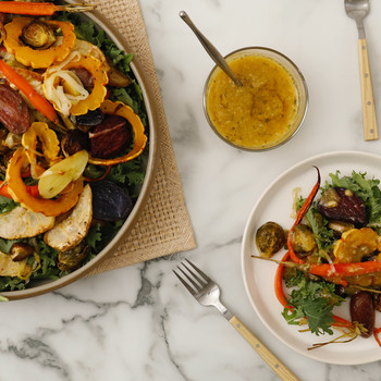 Watch: Roasted-Vegetable Salad with Garlic Dressing