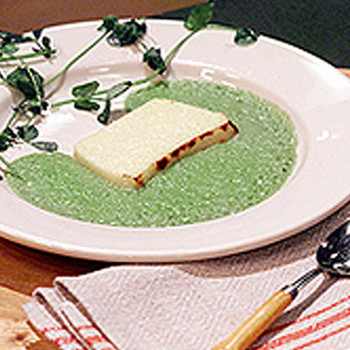 Parmesan Pudding with Pea Sauce
