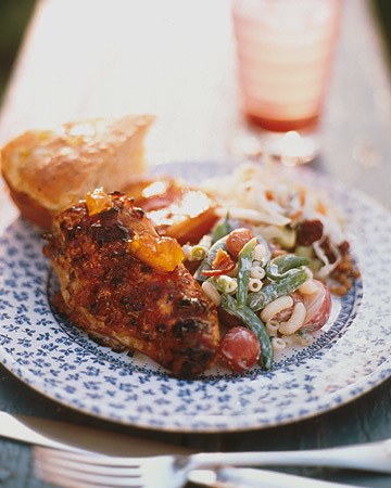 Barbecued Chicken Breasts with Spicy Peach Glaze