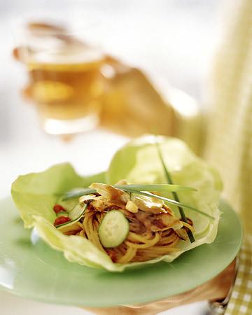 Lettuce Bundles with Spicy Peanut Noodles