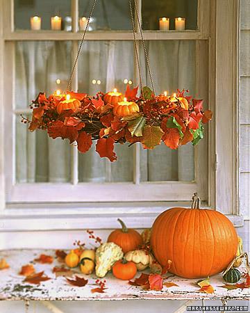 Autumn Wreath Pumpkin Chandelier