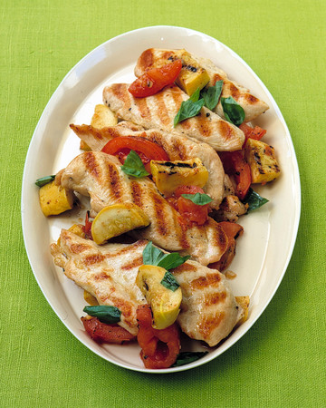 Grilled Chicken Cutlets with Squash and Tomatoes