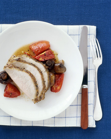 Roast Pork Loin with Mushrooms and Tomatoes
