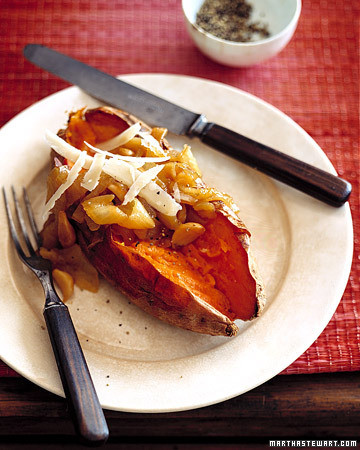 Baked Sweet Potatoes with Caramelized Onions and Shaved Parmesan