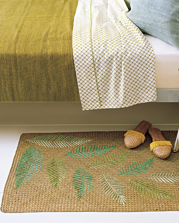 Raffia Leaf Throw Rug