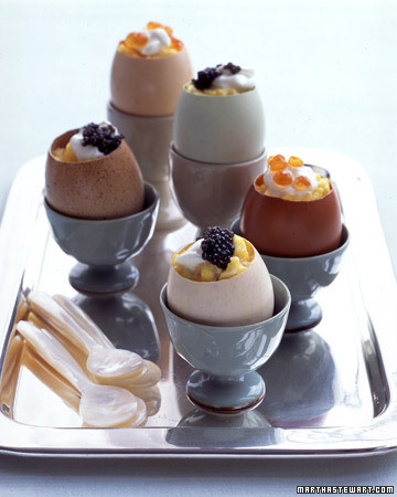 Scrambled Eggs with Creme Fraiche and Caviar in Eggshell Cups