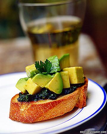 Avocado Bruschetta with Green Sauce