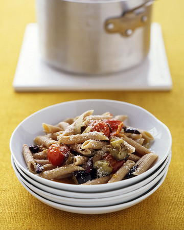 Whole-Wheat Pasta with Roasted Eggplant and Tomatoes