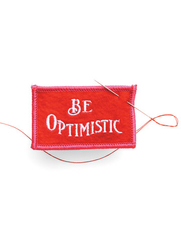 """Be Optimistic"" Felt Badge"