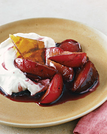 Honey-Roasted Plums with Mascarpone Cream and Brittle