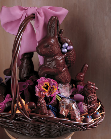 Chocolate Bunnies and Pansies Easter Basket