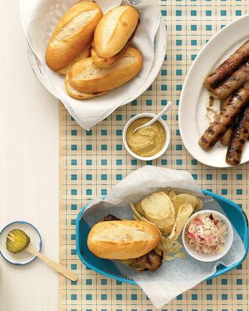 Midwestern Grilled Bratwurst Sandwiches with Caraway Sauerkraut