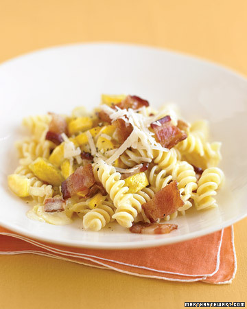 Creamy Fusilli with Yellow Squash and Bacon