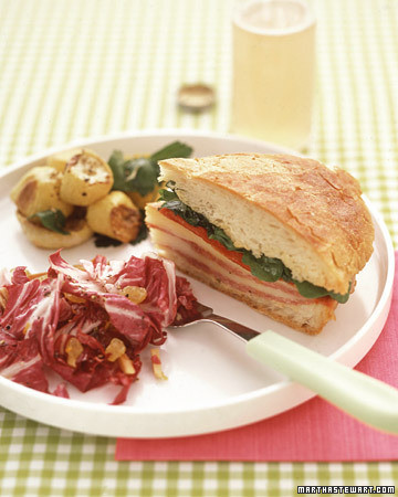 Pressed Salami Sandwiches with Salad