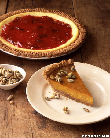 Pumpkin Pie with Graham Crust and Candied Pepitas