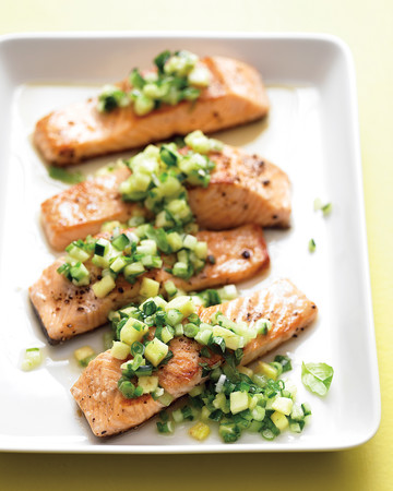 Salmon with Spicy Cucumber-Pineapple Salsa