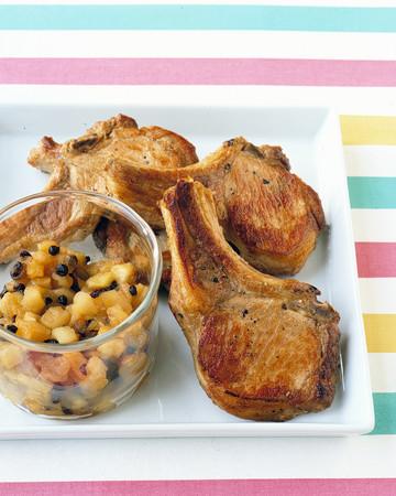 Pork Chops with Apple-Raisin Relish