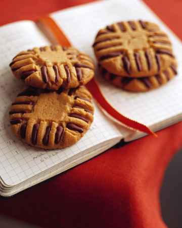 Chocolate-Piped Peanut Butter Cookies
