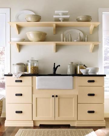 Open Shelving: Martha Stewart Living Maidstone Kitchen in Fortune Cookie