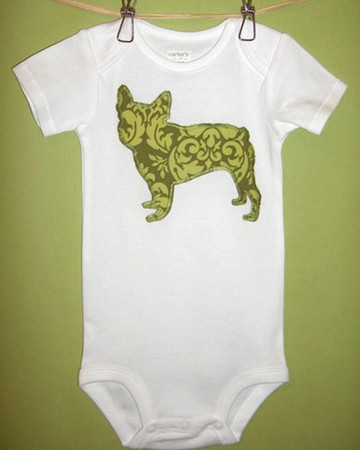 Dog Appliqued Infant Bodysuits