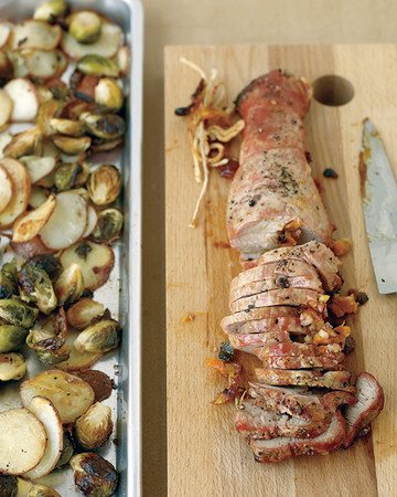 Apricot-Stuffed Pork with Potatoes and Brussels Sprouts
