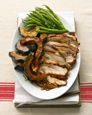 Molasses-Glazed Turkey Breast and Acorn Squash