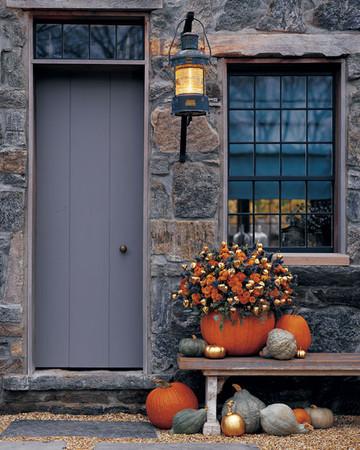 Pumpkin Vase of Fall Flowers