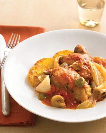 Chicken Cacciatore with Crisp Polenta