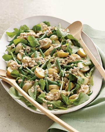 Arugula, Potato, and Green-Bean Salad with Creamy Walnut Dressing