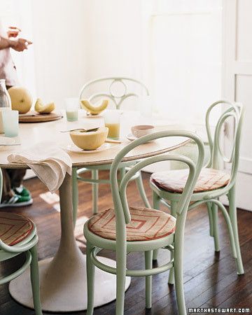 Vintage Cafe Chairs in a Pastel Palette