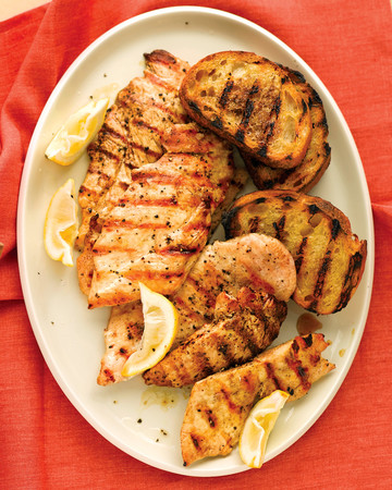 Grilled Lemon Chicken with Garlic Bread