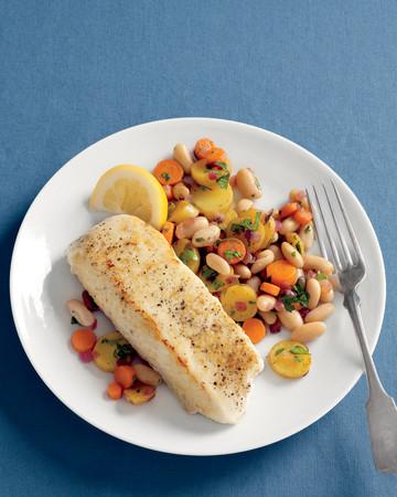 Halibut with Warm Bean Hash