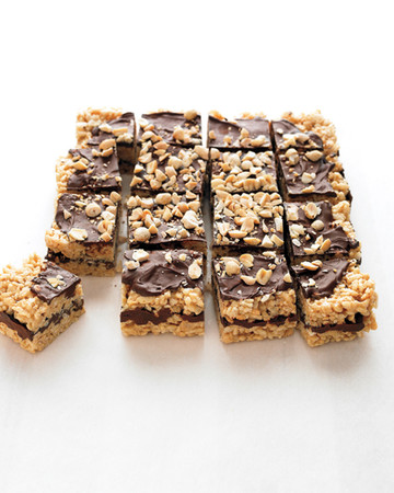Puffed-Rice Bars with Peanut Butter and Chocolate