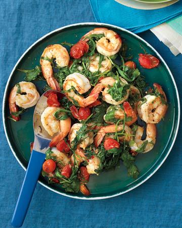 Sauteed Shrimp with Arugula and Tomatoes