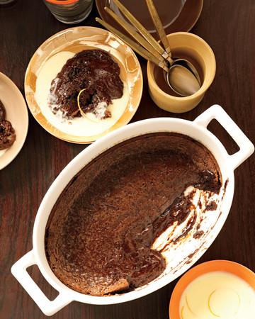 Soft Chocolate Cake with Orange Creme Anglaise
